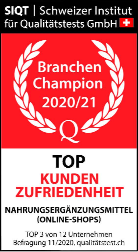 SIQT, Schweizer Institut für Qualitätstests GmbH, Branchen Champion 2020/21